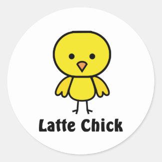 Latte Chick Classic Round Sticker