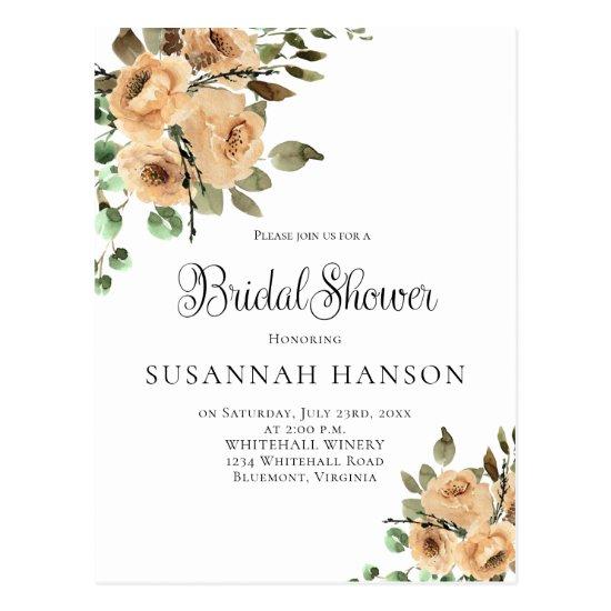 Latte Cream Ivory Beige Floral Bridal Shower Postcard