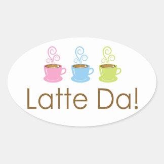 Latte Da! Steamy Coffee Oval Stickers