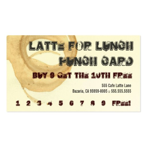 Latte for Lunch Coffee Drink Punch Card Business Card