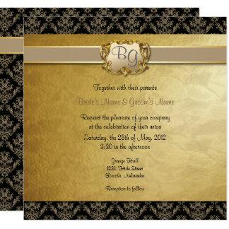Latte' & Gold Elegant Wedding Invite - 2 NEW