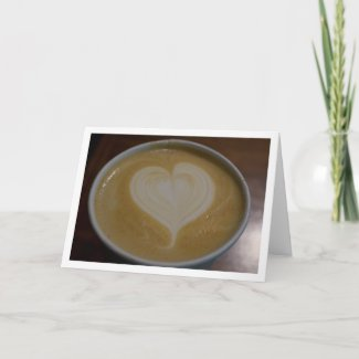 Latte Heart Caffeine Addict Coffee Lover Blank Card