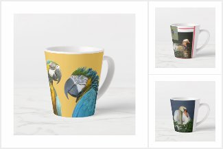 Latte Mugs, Colorful Birds Collection