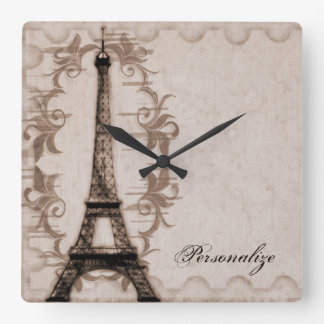 Latte Paris Grunge Wall Clock