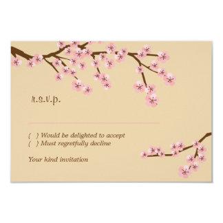 Latte & Pink Cherry Blossom RSVP w/ envelopes Card