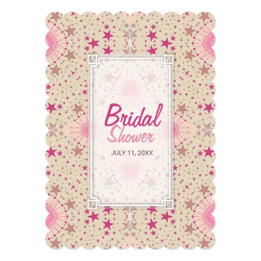 Latte Pink Stars Pattern Bridal Shower Invitation