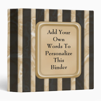 Latte Stripes 3 Ring Binder