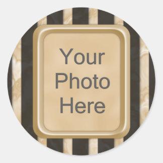Latte Stripes Classic Round Sticker