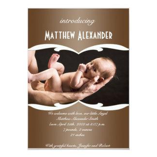 Latte y invitación blanca del bebé de la foto de invitación 12,7 x 17,8 cm