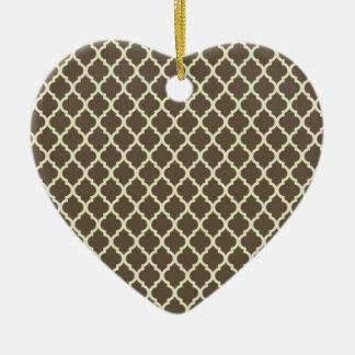 lattice Brown & whithe moroccan tile Ceramic Ornament