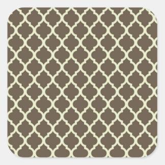 lattice Brown & whithe moroccan tile Square Sticker