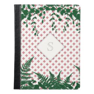 Lattice Ferns Vines Monogram pink green iPad folio iPad Case