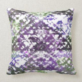 Lattice Floral Soft Purple Green StripeBack Pillow