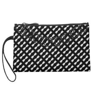 Lattice Luxury Black & White Baguette Black Chain Suede Wristlet Wallet