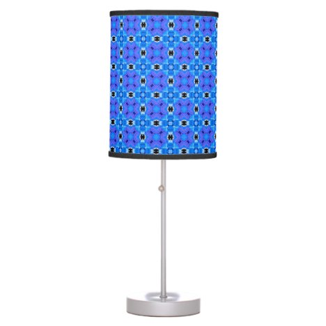 Lattice Modern Blue Violet Abstract Floral Quilt Desk Lamp