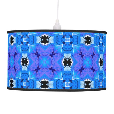 Lattice Modern Blue Violet Abstract Floral Quilt Hanging Lamp