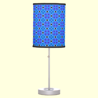 Lattice Modern Blue Violet Abstract Floral Quilt Table Lamps