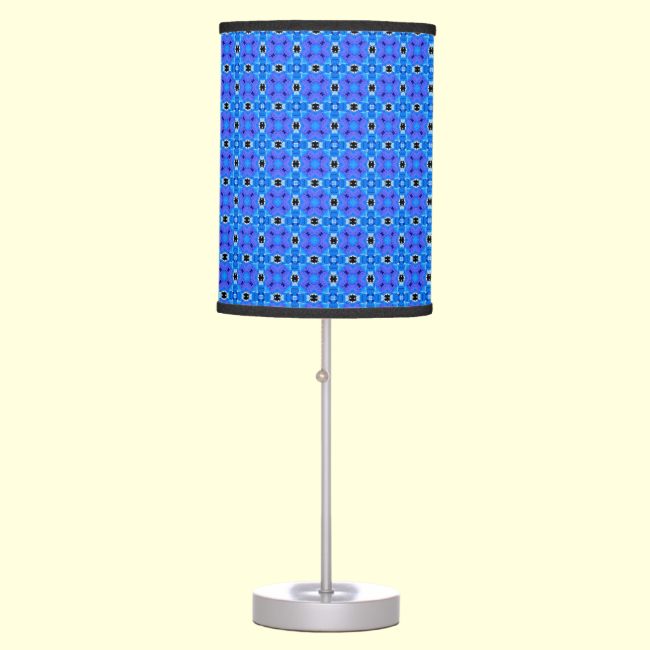 Lattice Modern Blue Violet Abstract Floral Quilt Table Lamp
