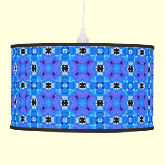 Lattice Modern Blue Violet Abstract Floral Quilt Hanging Pendant Lamp