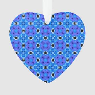 Lattice Modern Blue Violet Abstract Floral Quilt Ornament