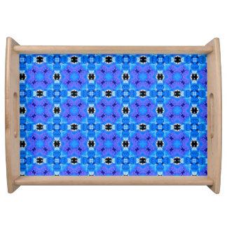 Lattice Modern Blue Violet Abstract Floral Quilt Serving Platter