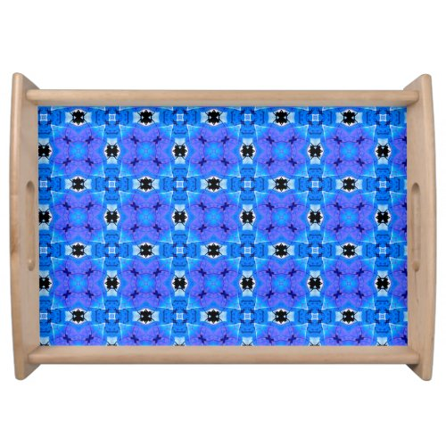 Lattice Modern Blue Violet Abstract Floral Quilt Serving Tray