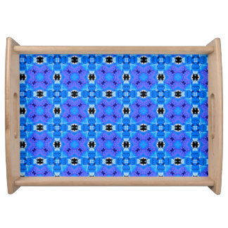 Lattice Modern Blue Violet Abstract Floral Quilt Serving Trays