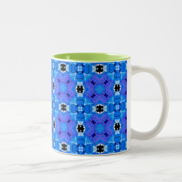 Lattice of Modern Blue Violet Floral Quilt Two-Tone Coffee Mug