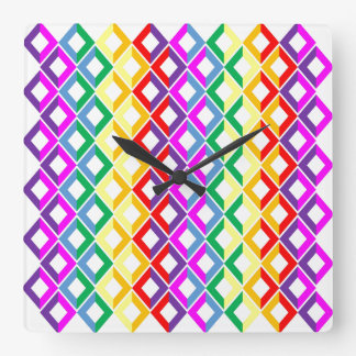 Lattice Rainbow Square Wall Clock