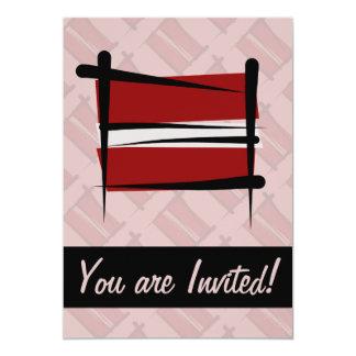 Latvia Brush Flag Card