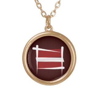 Latvia Brush Flag Round Pendant Necklace