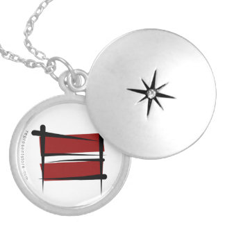 Latvia Brush Flag Silver Plated Necklace