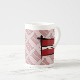 Latvia Brush Flag Tea Cup