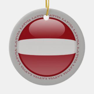 Latvia Bubble Flag Ceramic Ornament