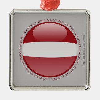 Latvia Bubble Flag Metal Ornament
