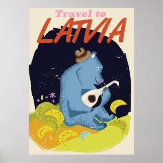 Latvia Cartoon vintage travel poster