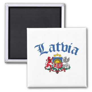 Latvia Coat of Arms 2 Inch Square Magnet