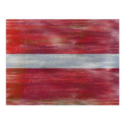 Latvia distressed Latvian flag Post Cards