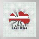 Latvia Flag Map 2.0 Poster