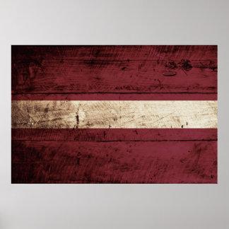Latvia Flag on Old Wood Grain Poster