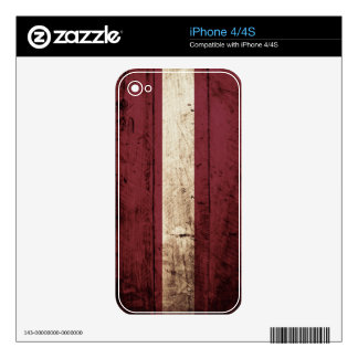 Latvia Flag on Old Wood Grain Skins For The iPhone 4