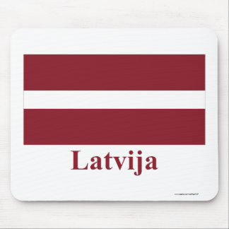 Latvia Flag with Name in Latvian Mouse Pad