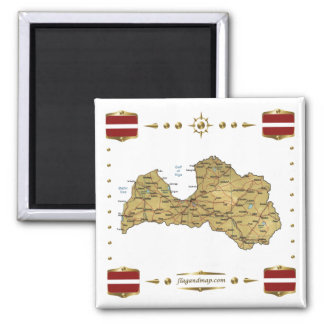 Latvia Map + Flags Magnet