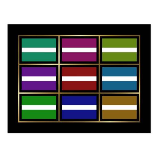 Latvia Multihue Flags Postcard