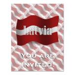 "Latvia Waving Flag 4.25"" X 5.5"" Invitation Card"