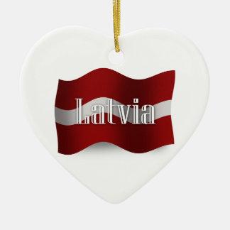 Latvia Waving Flag Ceramic Ornament