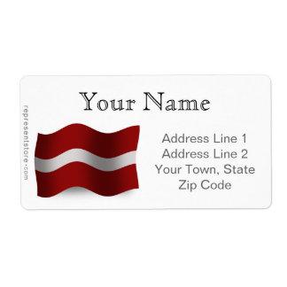 Latvia Waving Flag Label