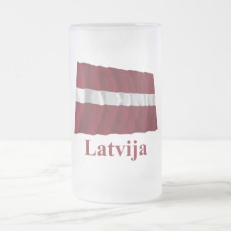 Latvia Waving Flag with Name in Latvian Frosted Glass Beer Mug