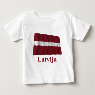 Latvia Waving Flag with Name in Latvian Tshirts