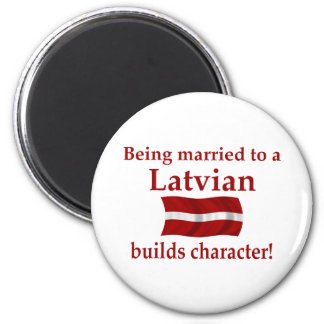 Latvian Builds Character 2 Inch Round Magnet